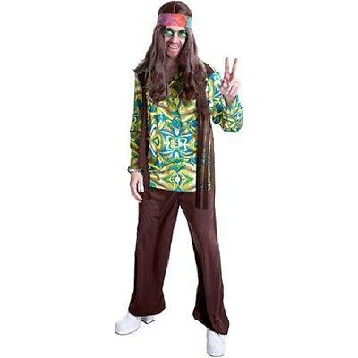 mens Large 36-38 retro 60s HIPPIE Halloween costume shirt vest pants glasses  - Mens Hippie Vest