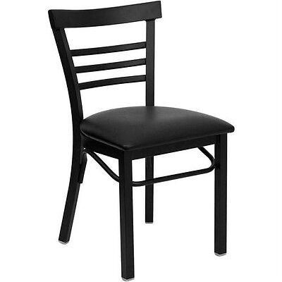 Black Ladder Back Metal Restaurant Chair With Black Vinyl Seat