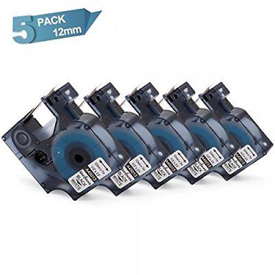 5pk 45013 Compatible Dymo D1 Label Printer Tape Label Refill Black On White 12mm