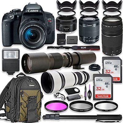 Canon EOS Rebel T7i DSLR Camera with (4) Lenses + Polished Bundle