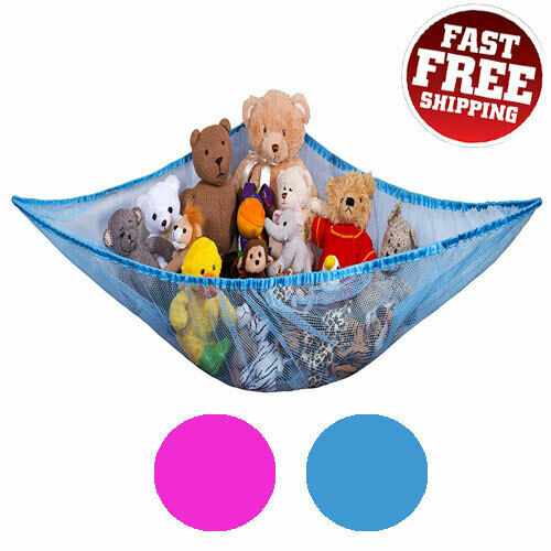 Jumbo Toy Hammock Net Organizer Corner Hanging Stuffed Animals Storage Kids Pink