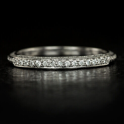 VINTAGE ART DECO WEDDING BAND ROUND DIAMOND ENGRAVED 14K STACKING COCKTAIL RING