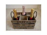 Vintage wooden wine crate box french rustic bottle holder