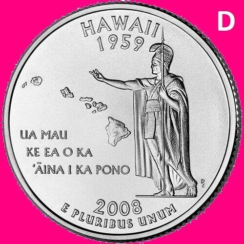 2008 D Hawaii Quarter 50 State Statehood  Denver  ~ UNC  Uncirculated 2nd