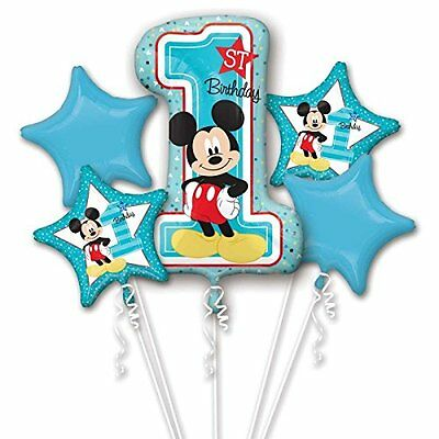 1st Year Old Mickey Mouse Balloon Bouquet First Birthday Party Supplies 5pc  - 1 Year Old Birthday Party Supplies