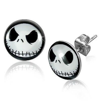 JACK SKELLINGTON Nightmare Before Christmas Stud Earrings - 10 mm  USA - Female Jack Skellington