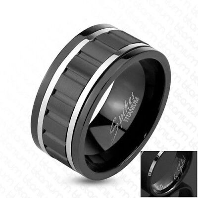 Engraved Black Titanium Spinning Gear Design Center Stripe Band - Spinning Gear Ring