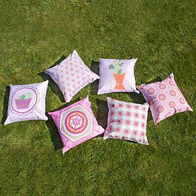 Designer Hex Print Outdoor Garden Scatter Cushion Covers Water Resistant Fabric