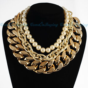 Fashion Gold Double Big Chains White Pearl Beads Cluster Choker Necklace
