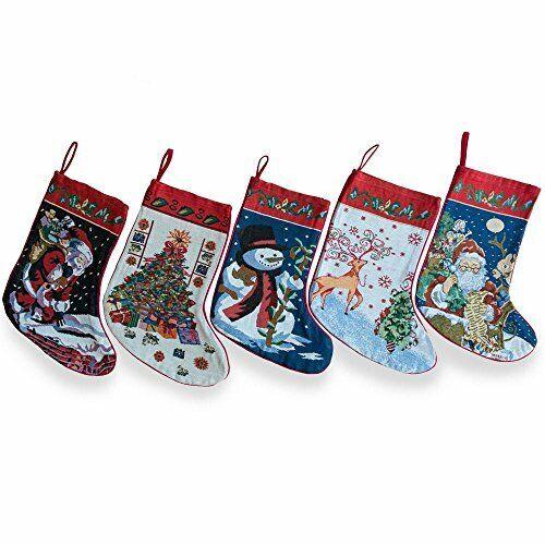 BestPysanky Set of 5 Santa, Snowman, Reindeer & Tree Christmas Stockings 18 Inc
