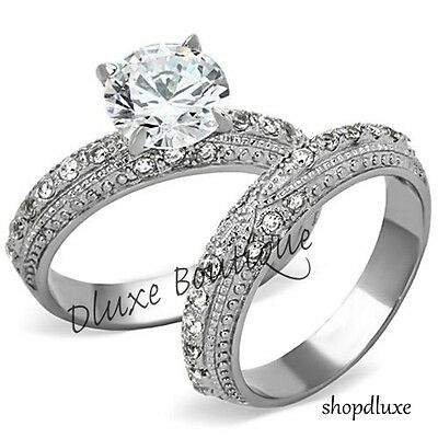 3.25 CT ROUND CUT CZ STAINLESS STEEL VINTAGE WEDDING RING SET WOMEN