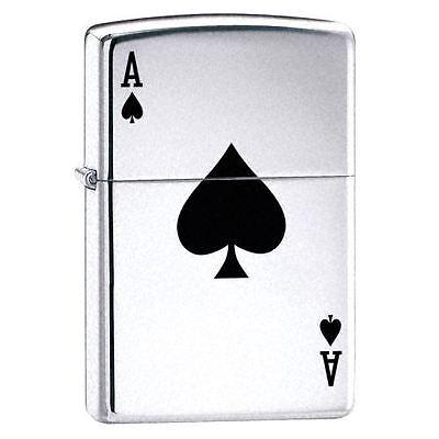 Official Lucky Ace High Polish Chrome Zippo Lighter - Gift Boxed Silver Tone