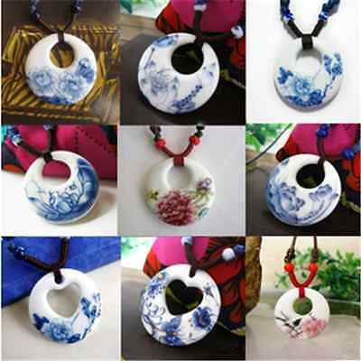 Porcelain White Necklace (Hand-painted Ethnic blue and white porcelain pendant necklace)