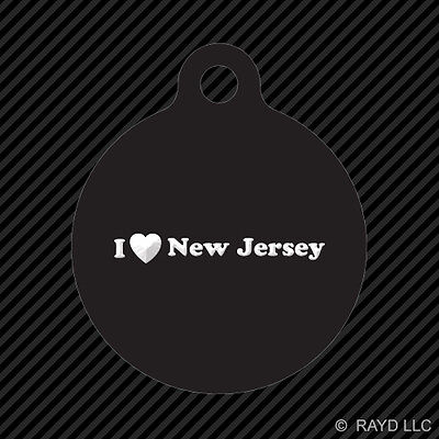 I Love New Jersey Keychain Round with Tab dog engraved many colors