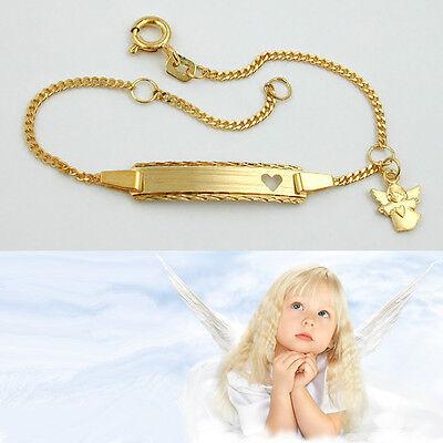 Echt Gold 585 Baby Taufe Schutz Engel Herz Ident Armband mit Gravur Name Datum
