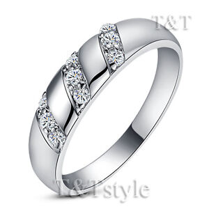 T&T 18K White Gold GP Engagement Wedding Ring Size 8 (RF39)