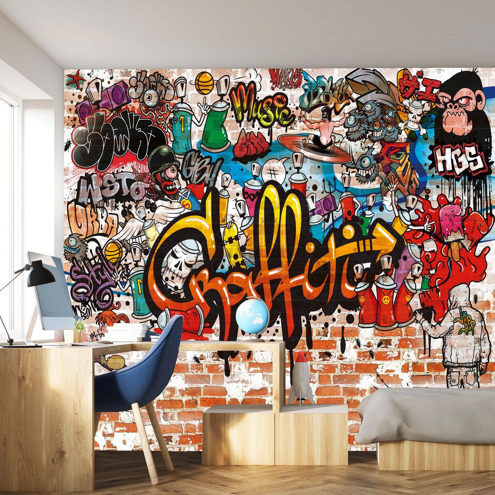 Carta da Parati Graffiti 366x254 cm Bambini parete pietra colorati ragazzi mural