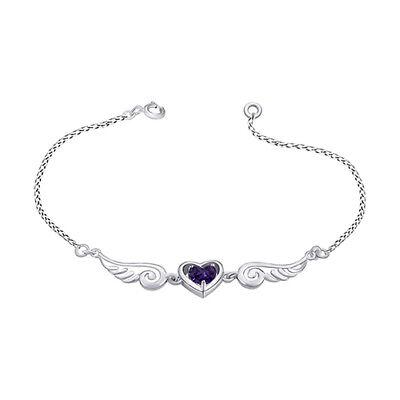 Purple Heart Alexandrite Angel Wings with Heart Bracelet 14K White Gold Over Alexandrite White Gold Bracelets