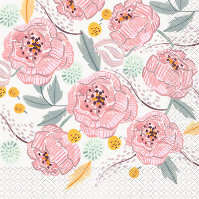 Floral Party Napkins (WEDDING AND BRIDAL Painted Floral LUNCH NAPKINS (16) ~ Party Supplies)