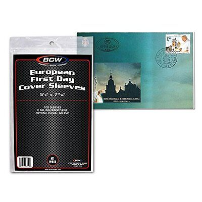 500 BCW EUROPEAN FIRST DAY COVER CRYSTAL CLEAR SLEEVES