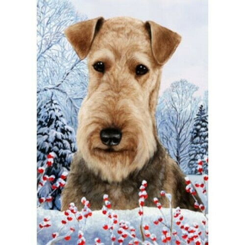 Winter House Flag - Airedale Terrier 15027