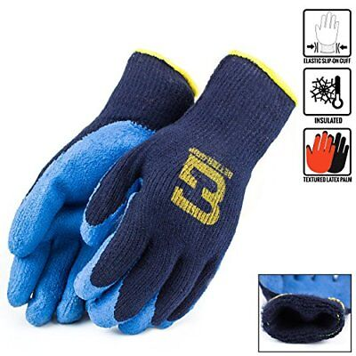 Blue Insulated Winter Rubber-coated Gloves Crinkle Finished -bgwlac-blu