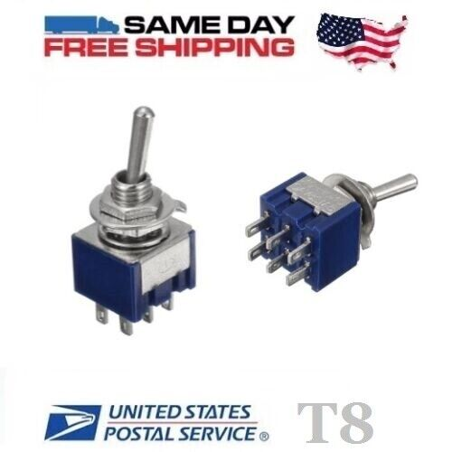 2x MINI DPDT ~ Double Pole Double Throw 6-Pin  (ON-OFF-ON) 6amp Toggle Switches