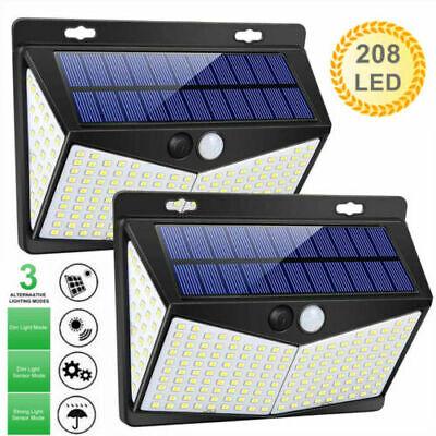 2 Packs 208LED Solar Lamp Light PIR Motion Sensor Outdoor Wall Waterproof Garden Home & Garden