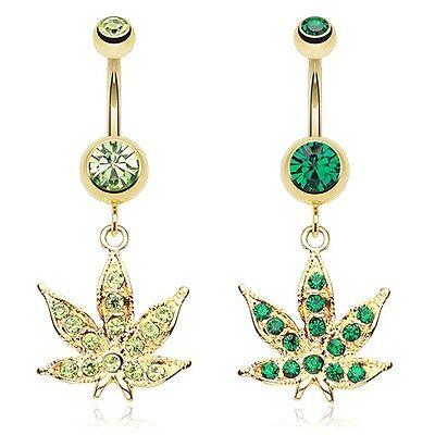 Fancy Belly Ring (Golden Cannabis Leaf Sparkle Belly Ring Green Marijuana CZ Navel Fancy Pot Rasta )