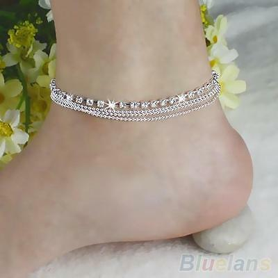 Sparkly 4 Layers Crystal Beads Sandal Beach Anklet Ankle Chain Foot Jewelry