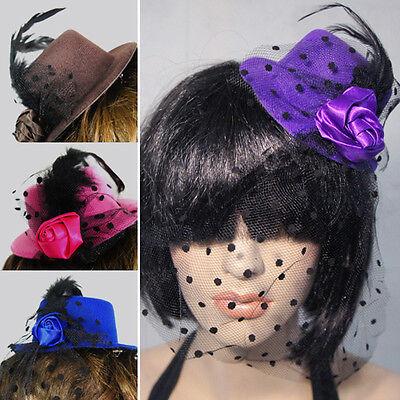 Polka Dot Top Hat (Womens Mini Top Hat Rose Black Polka Dot Veil Gothic Lolita Fancy Dress Costume )