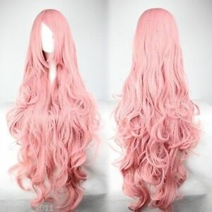Free Shipping Cheap Long Vocaloid- Luka Pink Wavy Anime Cosplay Wig