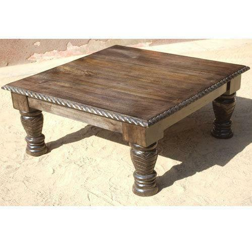 Phebe Modern Oak Timber Coffee Table Square Timber Top: Square Wood Coffee Table
