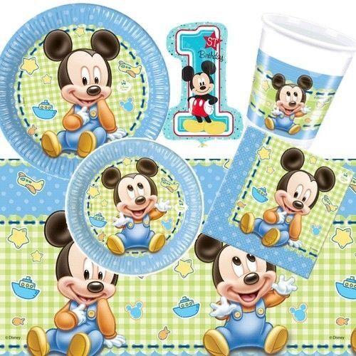 Mickey Baby Partydeko Geburt oder 1. Geburtstag Disney Deko Junge Boy Blau