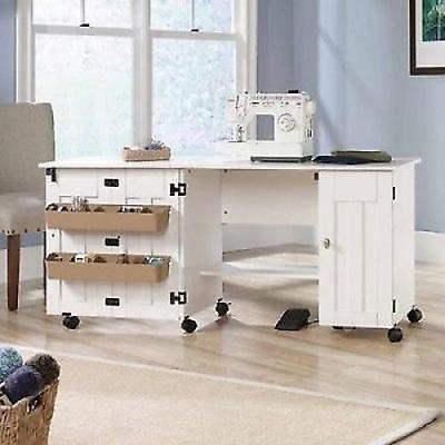Sewing Machine Table Cabinet Craft Storage Desk Dresser Drop Leaf Bins White NEW for sale  Perrysburg