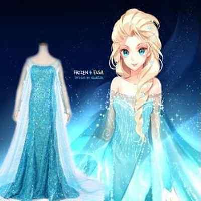 Damen Frozen Eiskönigin Elsa Anna Prinzessin Kleid Cosplay Kostüm Karneval Party