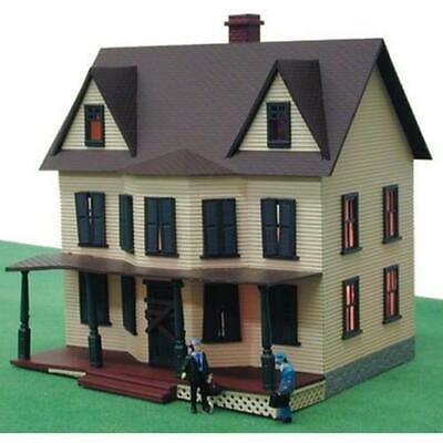 MODEL POWER 586 HO 1/87 HAUNTED HOUSE built up LIGHTED+2 Handpainted Figures NEW