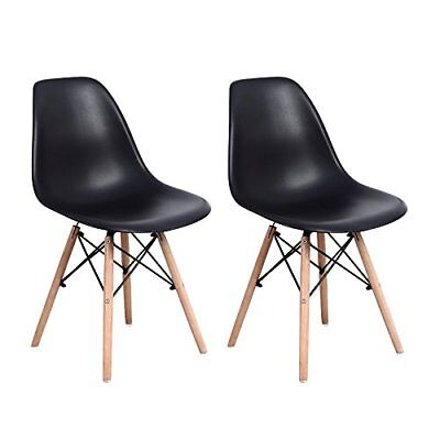 2 Black Dining Chairs - Dining Chairs Set of 2 Modern Side Chairs Wood 2 Pack Seats Easy Assembly