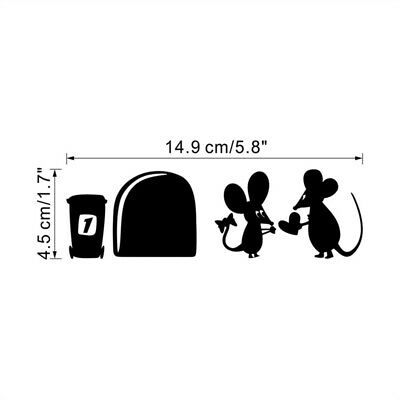 Cute Black Mouse Hole Wall Sticker Switch Wallpaper Funny Closestool Decals