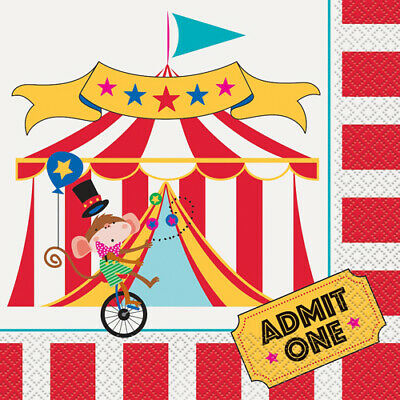 CIRCUS CARNIVAL LUNCH NAPKINS (16) ~ Birthday Party Supplies Large Serviettes - Carnival Napkins