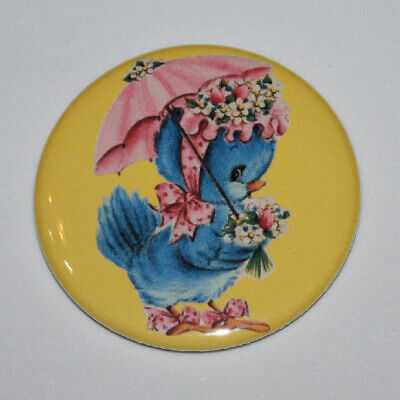 BLUE BIRD IN BONNET AND PARASOL MAGNET or PIN BUTTON Spring Umbrella Vintage Art ()