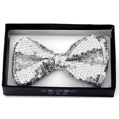 Silver Sequin Bow Tie (Unisex Pretied Bow tie Wedding Prom Tuxedo Sparkle  ~ Silver Sequins)