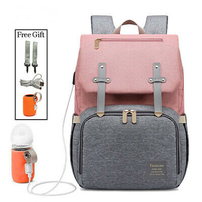 Diaper Bag Mummy Backpack Baby Stroller USB Charging Waterpr