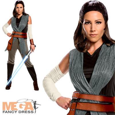 Rey Ladies Fancy Dress Disney Star Wars The Last Jedi Adults Womens Costume (Womens Jedi Kostüme)
