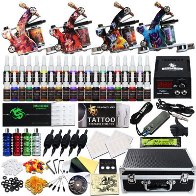 Beginner Tattoo Kit 4 Machine Guns Power Supply Set Grips 40 Color Ink Needles