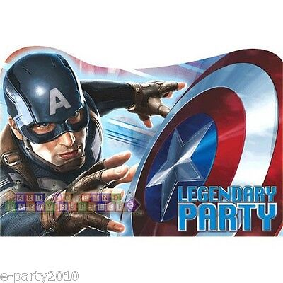 CAPTAIN AMERICA INVITATIONS (8) ~ Avengers Birthday Party Supplies Invites Cards - Captain America Birthday Card