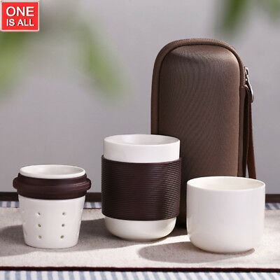 Japanese Teapot Ceramic Portable Travel Tea Set Coffee Mug Travel Bag Anti-hot ()