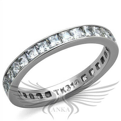 Brilliant Square Cut Cubic Zircon CZ AAA Wedding Eternity Ring Band TK2344 ()