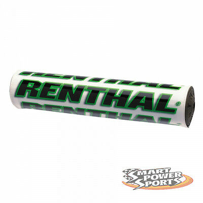 "Renthal SX Bar Pad -WHITE/GREEN- Crossbar Pad -10""- Foam Bar Pad MX Offroad Moto"