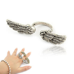 rock heart wing cross beard anchor bat skull peace two double finger ring cuff